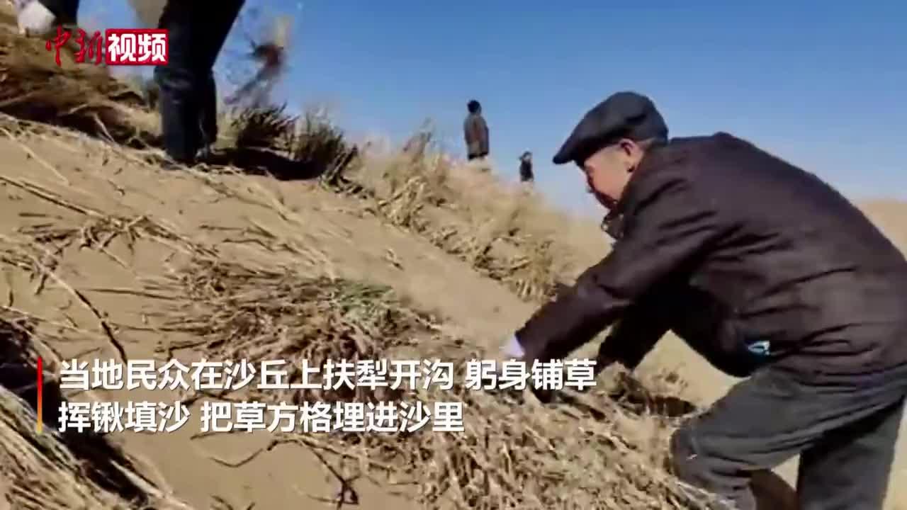 甘肃古浪:以沙压草4100亩 待雨后长出绿树