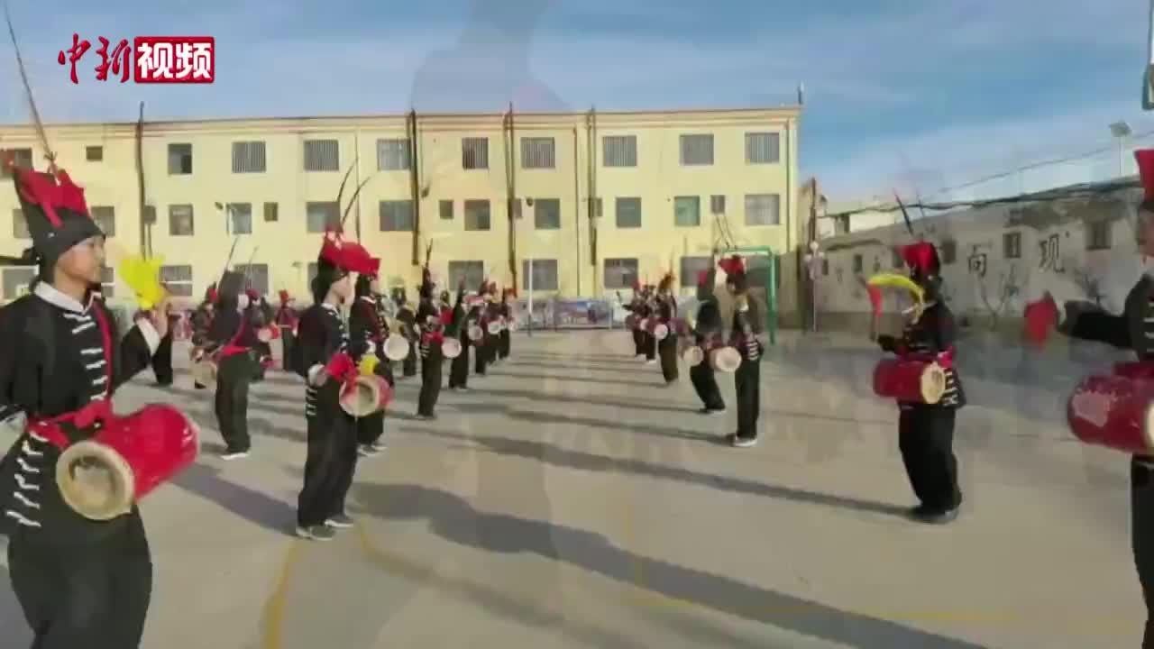 """不一样的课程!甘肃武威编排千年鼓乐舞蹈""""鼓舞""""学生"""
