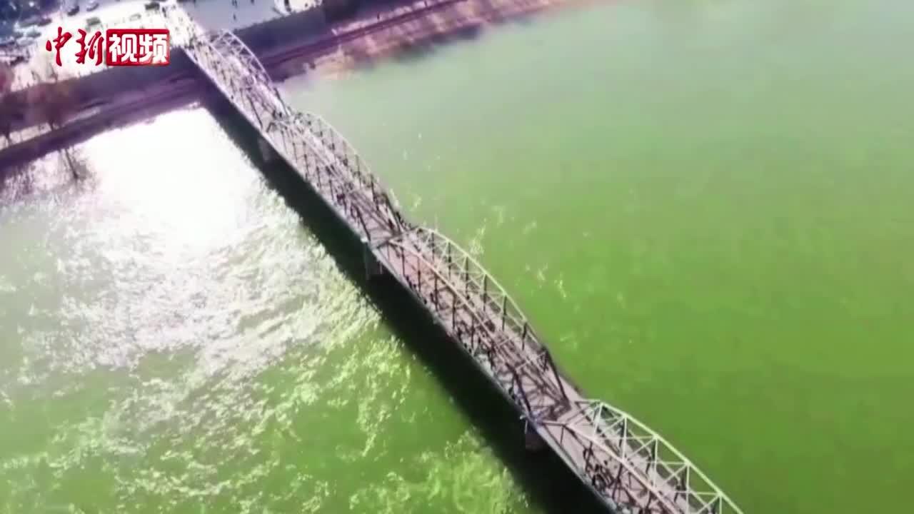 """""""翠绿""""黄河水流经兰州城 居民感叹""""黄""""河哪去了"""